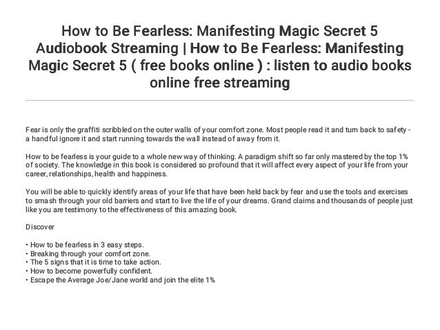 How to Be Fearless: Manifesting Magic Secret 5 Audiobook