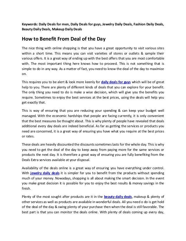 Keywords: Daily Deals for men, Daily Deals for guys, Jewelry Daily Deals, Fashion Daily Deals,Beauty Daily Deals, Makeup D...