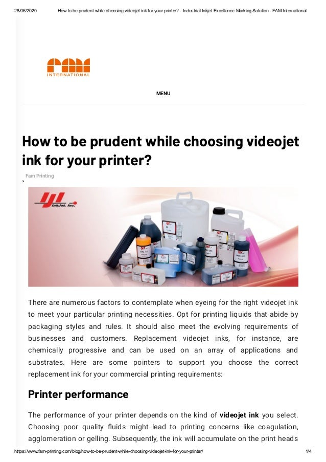 28/06/2020 How to be prudent while choosing videojet ink for your printer? - Industrial Inkjet Excellence Marking Solution...