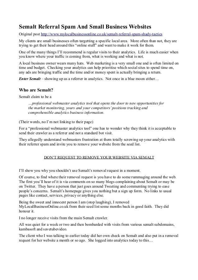Semalt Referral Spam And Small Business Websites Original post http://www.mylocalbusinessonline.co.uk/semalt-referral-spam...