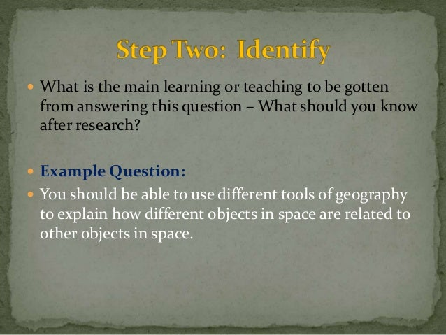  What is the main learning or teaching to be gotten  from answering this question – What should you know  after research?...