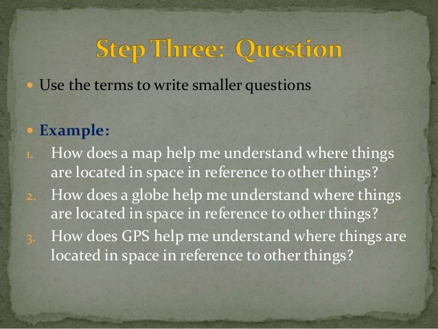  Use the terms to write smaller questions   Example:  1. How does a map help me understand where things  are located in ...
