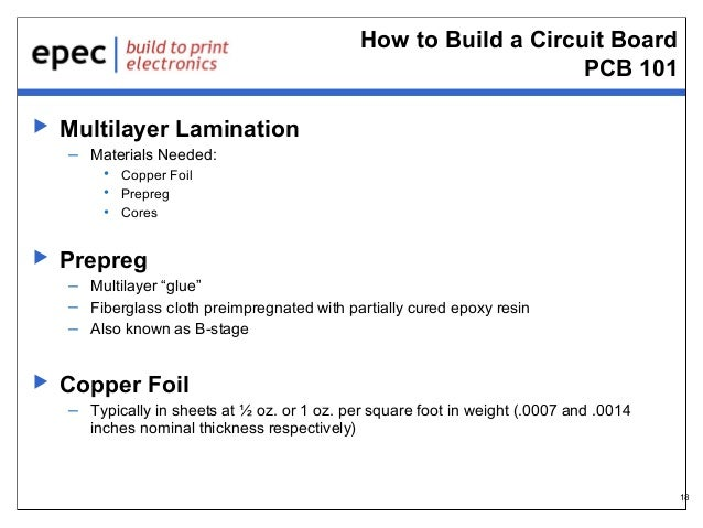 How to Build a Circuit Board PCB 101   Multilayer Lamination – Materials Needed: • Copper Foil • Prepreg • Cores    Prep...