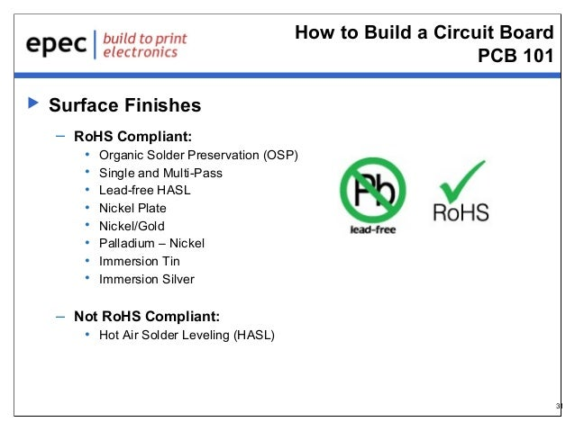 How to Build a Circuit Board PCB 101   Surface Finishes – RoHS Compliant: • • • • • • • •  Organic Solder Preservation (O...