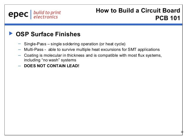 How to Build a Circuit Board PCB 101   OSP Surface Finishes – Single-Pass – single soldering operation (or heat cycle) – ...
