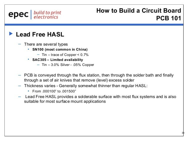 How to Build a Circuit Board PCB 101   Lead Free HASL – There are several types • SN100 (most common in China) – Tin – tr...