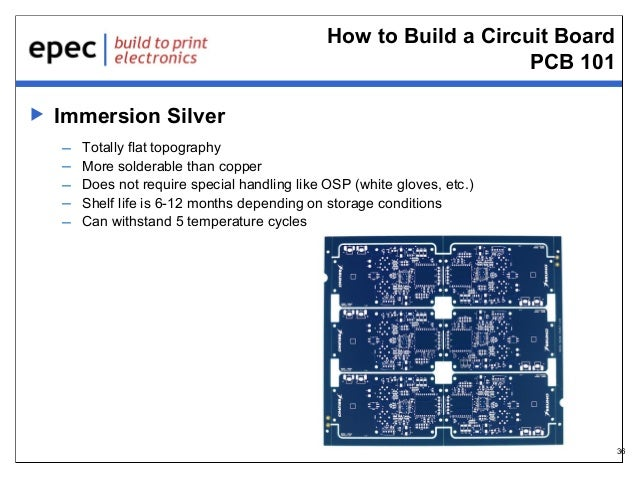 How to Build a Circuit Board PCB 101   Immersion Silver – – – – –  Totally flat topography More solderable than copper Do...