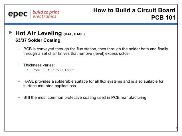 How to Build a Circuit Board PCB 101   Hot Air Leveling (HAL, HASL) 63/37 Solder Coating – PCB is conveyed through the fl...