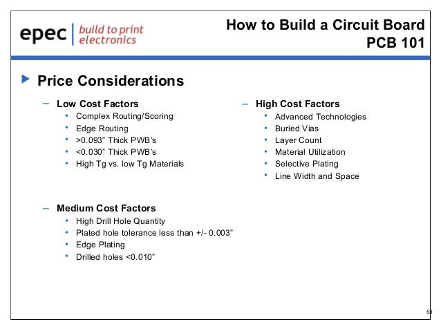 How to Build a Circuit Board PCB 101   Price Considerations – Low Cost Factors • • • • •  Complex Routing/Scoring Edge Ro...