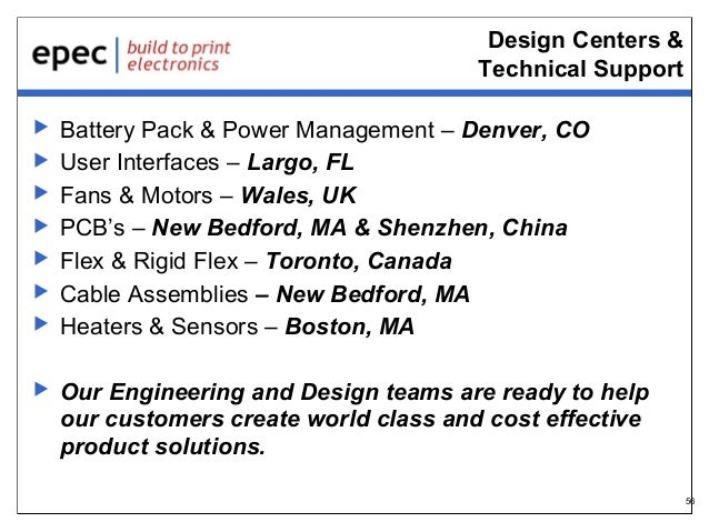 Design Centers & Technical Support           Battery Pack & Power Management – Denver, CO User Interfaces – Largo,...
