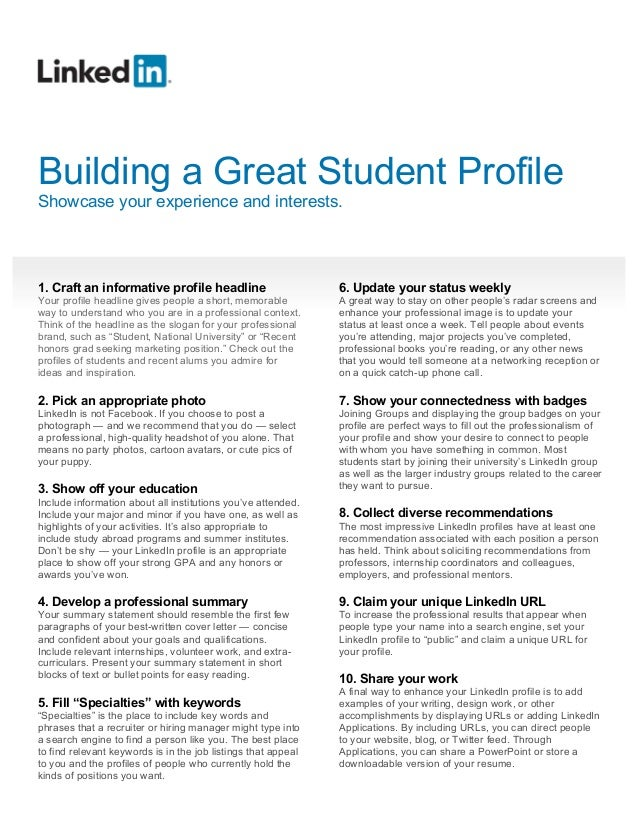 how to build a great student linkedin profile