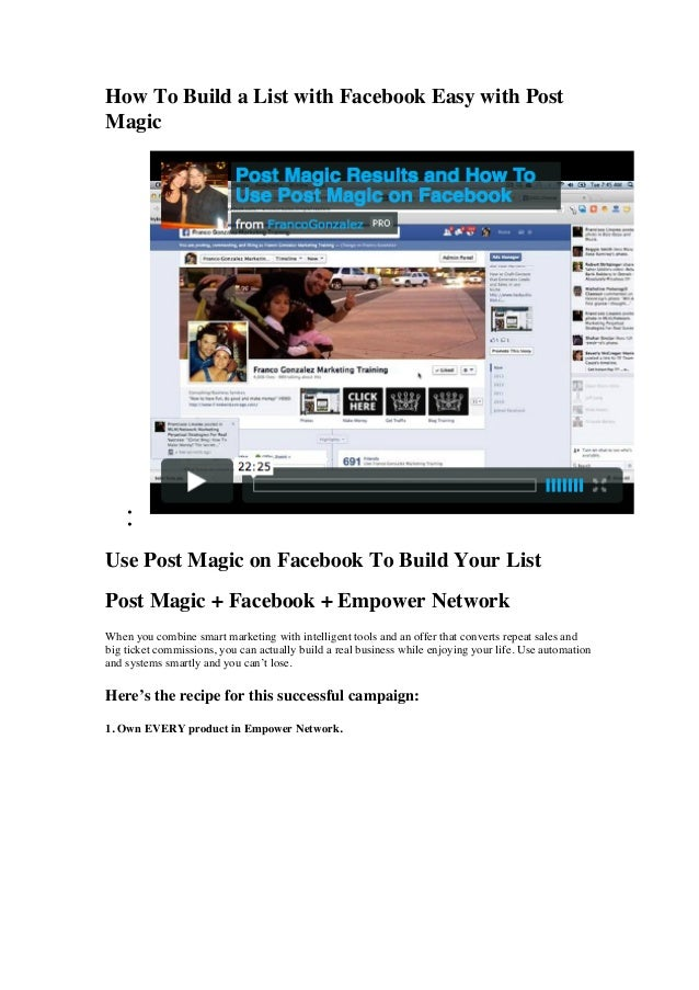 How To Build a List with Facebook Easy with PostMagic••Use Post Magic on Facebook To Build Your ListPost Magic + Facebook ...