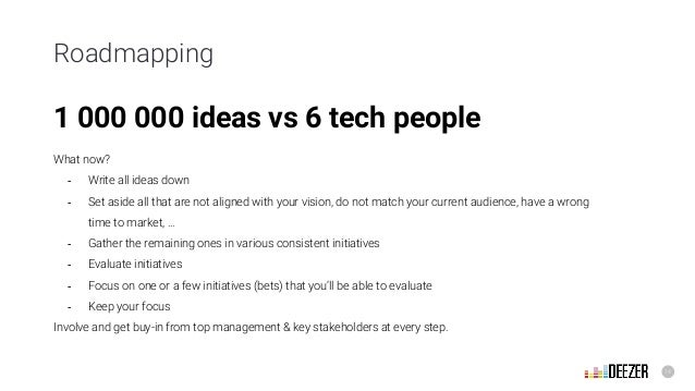 14 Roadmapping 1 000 000 ideas vs 6 tech people What now? - Write all ideas down - Set aside all that are not aligned with...