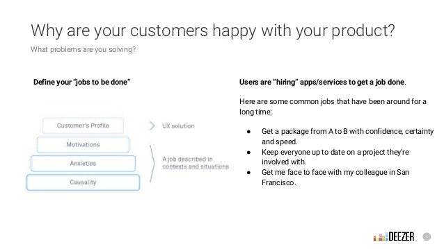 """6 Why are your customers happy with your product? What problems are you solving? Define your """"jobs to be done"""" Users are """"..."""