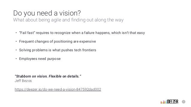 """9 Do you need a vision? What about being agile and finding out along the way • """"Fail fast"""" requires to recognize when a fa..."""