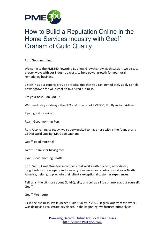 How to Build a Reputation Online in the Home Services Industry with Geoff Graham of Guild Quality Ron: Good morning! Welco...
