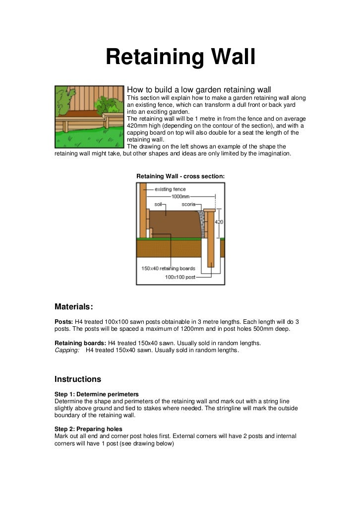 Retaining Wall                           How to build a low garden retaining wall                            This section ...