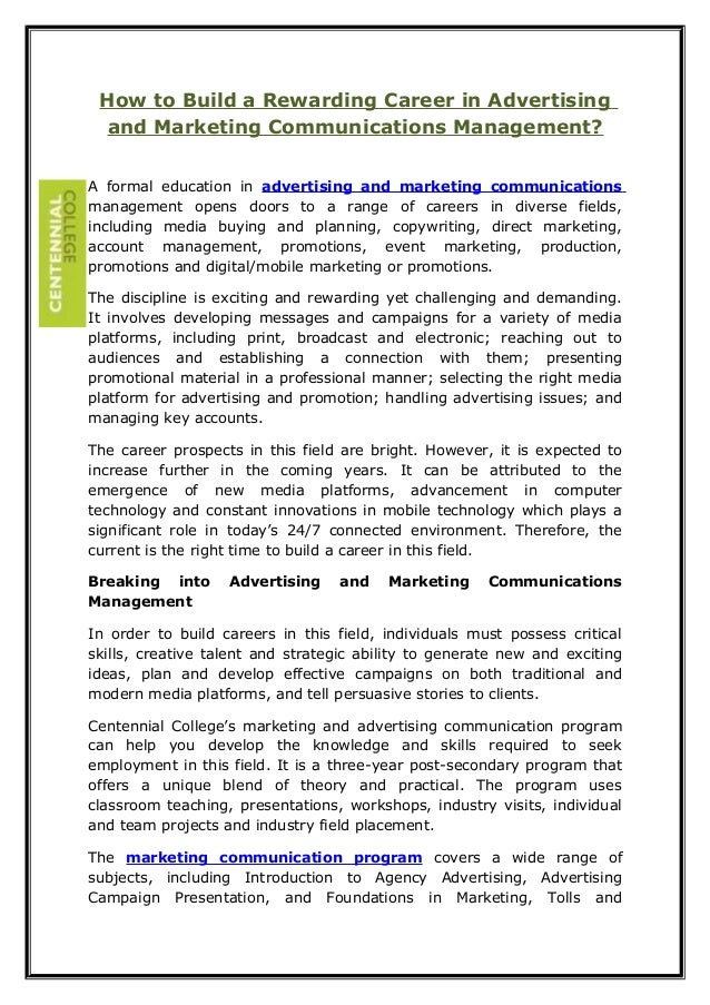 How to Build a Rewarding Career in Advertising and Marketing Communications Management? A formal education in advertising ...