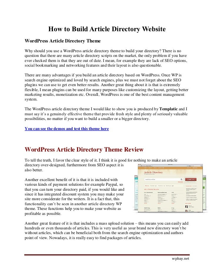How to Build Article Directory WebsiteWordPress Article Directory ThemeWhy should you use a WordPress article directory th...