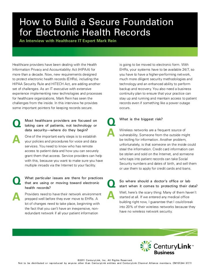 How to Build a Secure Foundation    for Electronic Health Records    An Interview with Healthcare IT Expert Mark ReinHealt...