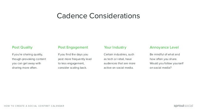 Post Quality If you're sharing quality, though-provoking content you can get away with sharing more often. Cadence Conside...
