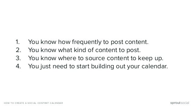 1. You know how frequently to post content. 2. You know what kind of content to post. 3. You know where to source content ...