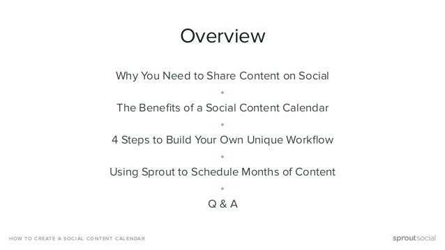 HOW TO CREATE A SOCIAL CONTENT CALENDAR Overview Why You Need to Share Content on Social • The Benefits of a Social Content...