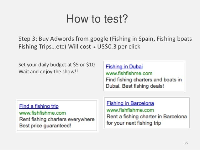 Step 3: Buy Adwords from google (Fishing in Spain, Fishing boatsFishing Trips…etc) Will cost ≈ US$0.3 per clickHow to test...