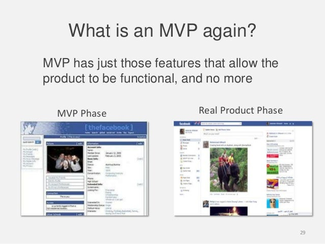 What is an MVP again?MVP has just those features that allow theproduct to be functional, and no moreMVP Phase Real Product...