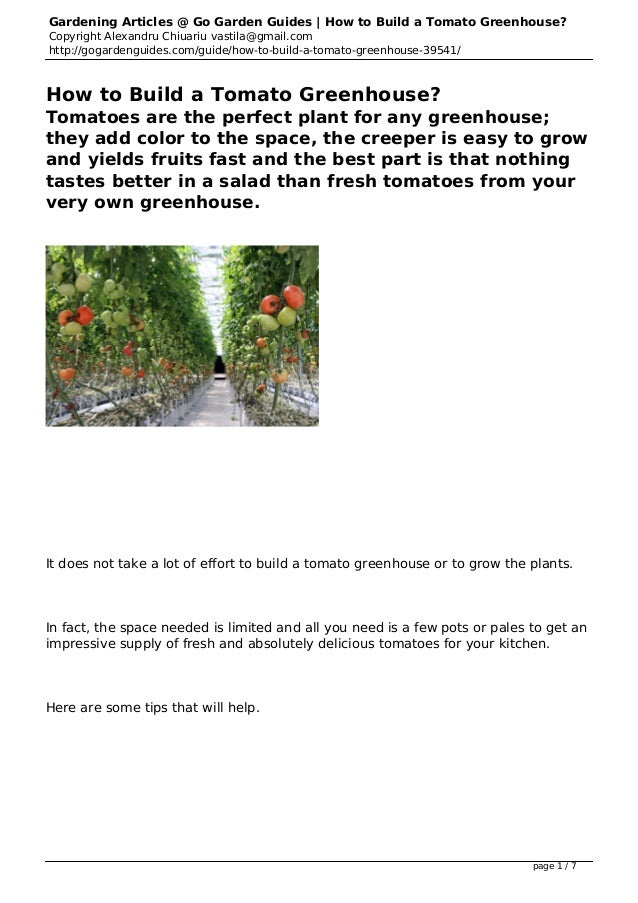 Gardening Articles @ Go Garden Guides | How to Build a Tomato Greenhouse? Copyright Alexandru Chiuariu vastila@gmail.com h...