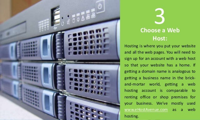 Choose a Web Host: Hosting is where you put your website and all the web pages. You will need to sign up for an account wi...