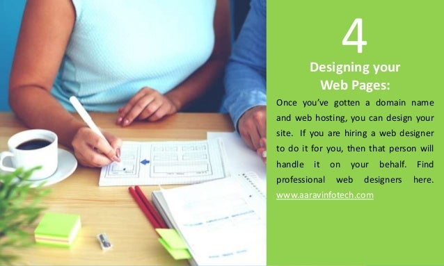 Designing your Web Pages: Once you've gotten a domain name and web hosting, you can design your site. If you are hiring a ...