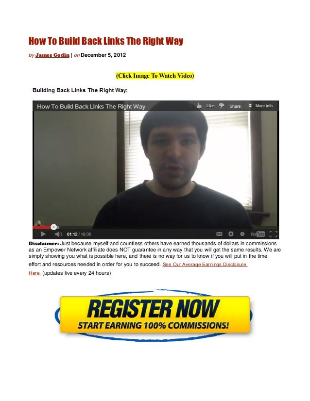How To Build Back Links The Right Wayby James Godin | on December 5, 2012                                      (Click Imag...