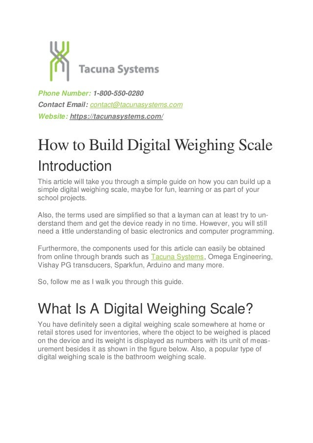 How to Build Digital Weighing Scales