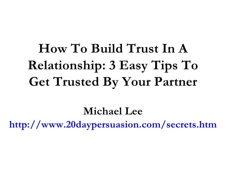 how to start building trust in a relationship