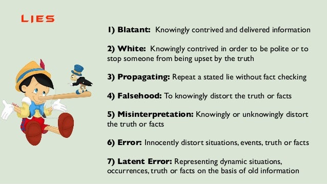 1) Blatant: Knowingly contrived and delivered information 2) White: Knowingly contrived in order to be polite or to stop s...