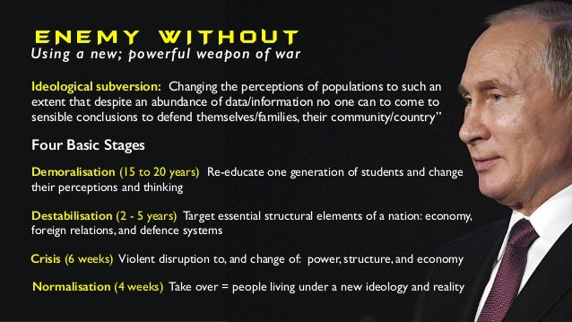 E N E M Y W I T H O U T Using a new; powerful weapon of war Ideological subversion: Changing the perceptions of population...