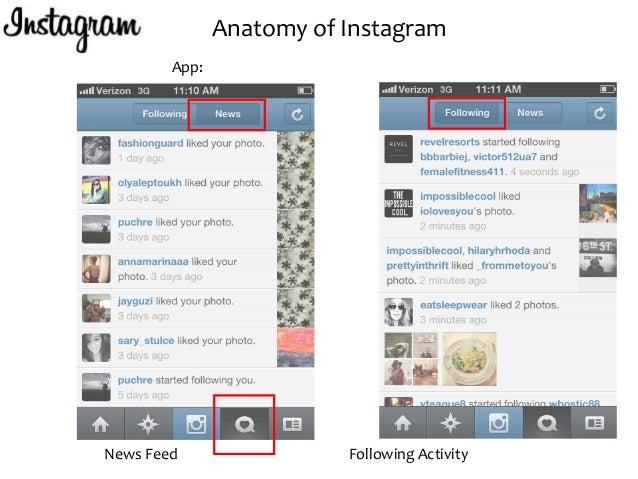 anatomy of instagram app news feed following activity