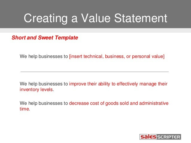 Captivating ... Improves Compensation Potential; 19. Creating A Value Statement ... For Personal Value Statement Examples