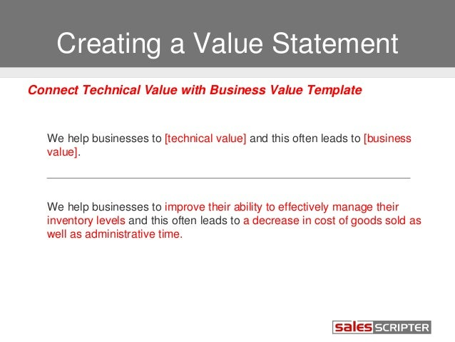 How to build your value proposition 20 creating a value statement connect technical value with business value template we wajeb Images