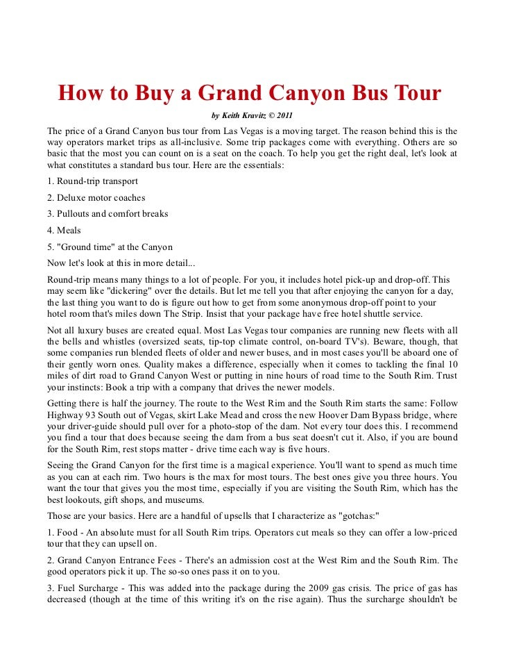 How to Buy a Grand Canyon Bus Tour                                           by Keith Kravitz © 2011The price of a Grand C...