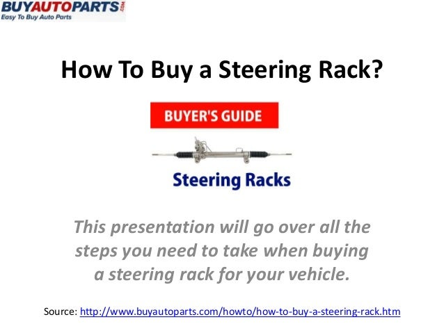 How To Buy a Steering Rack? Source: http://www.buyautoparts.com/howto/how-to-buy-a-steering-rack.htm This presentation wil...