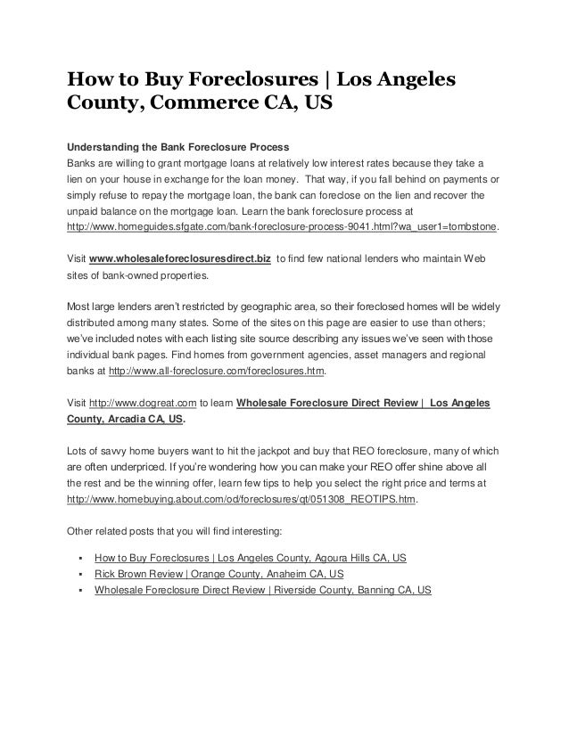 How to buy foreclosures los angeles county, commerce ca, us