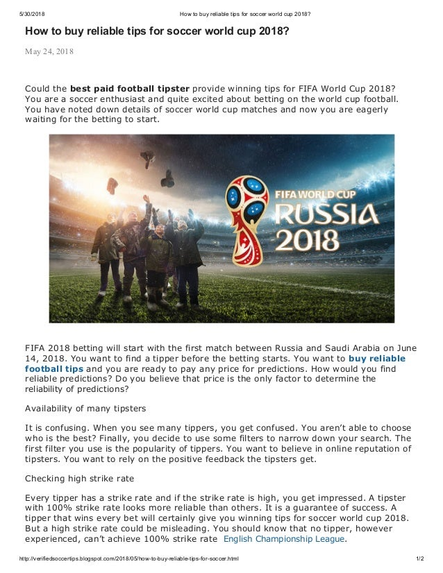 How to buy reliable tips for soccer world cup 2018?