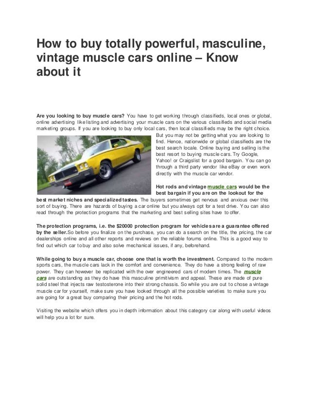 How to buy totally powerful, masculine, vintage muscle cars online – …