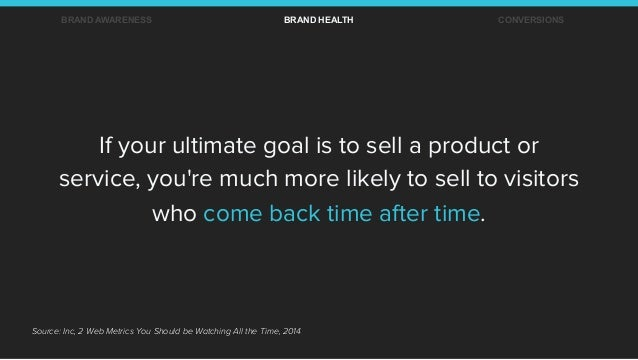 Source: Inc, 2 Web Metrics You Should be Watching All the Time, 2014 If your ultimate goal is to sell a product or service...