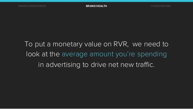 To put a monetary value on RVR, we need to look at the average amount you're spending in advertising to drive net new traffi...