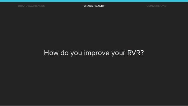 How do you improve your RVR? BRAND AWARENESS BRAND HEALTH CONVERSIONS