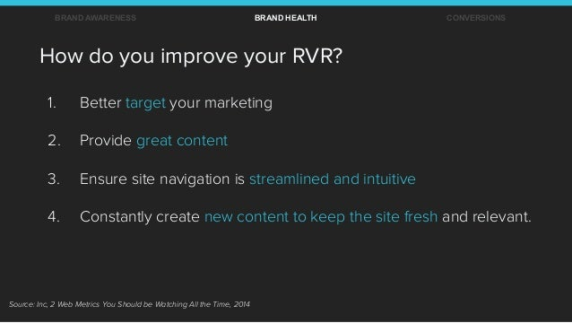 1. Better target your marketing 2. Provide great content 3. Ensure site navigation is streamlined and intuitive 4. Con...