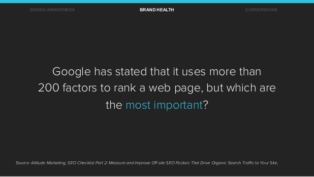 Google has stated that it uses more than 200 factors to rank a web page, but which are the most important? Source: Altitud...